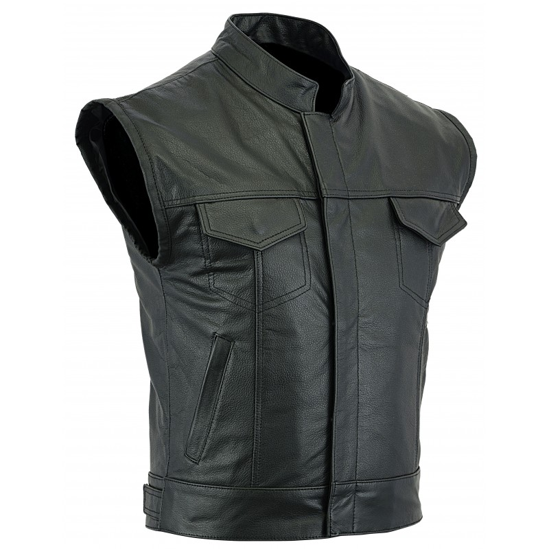 Mens Zip Leather Vest